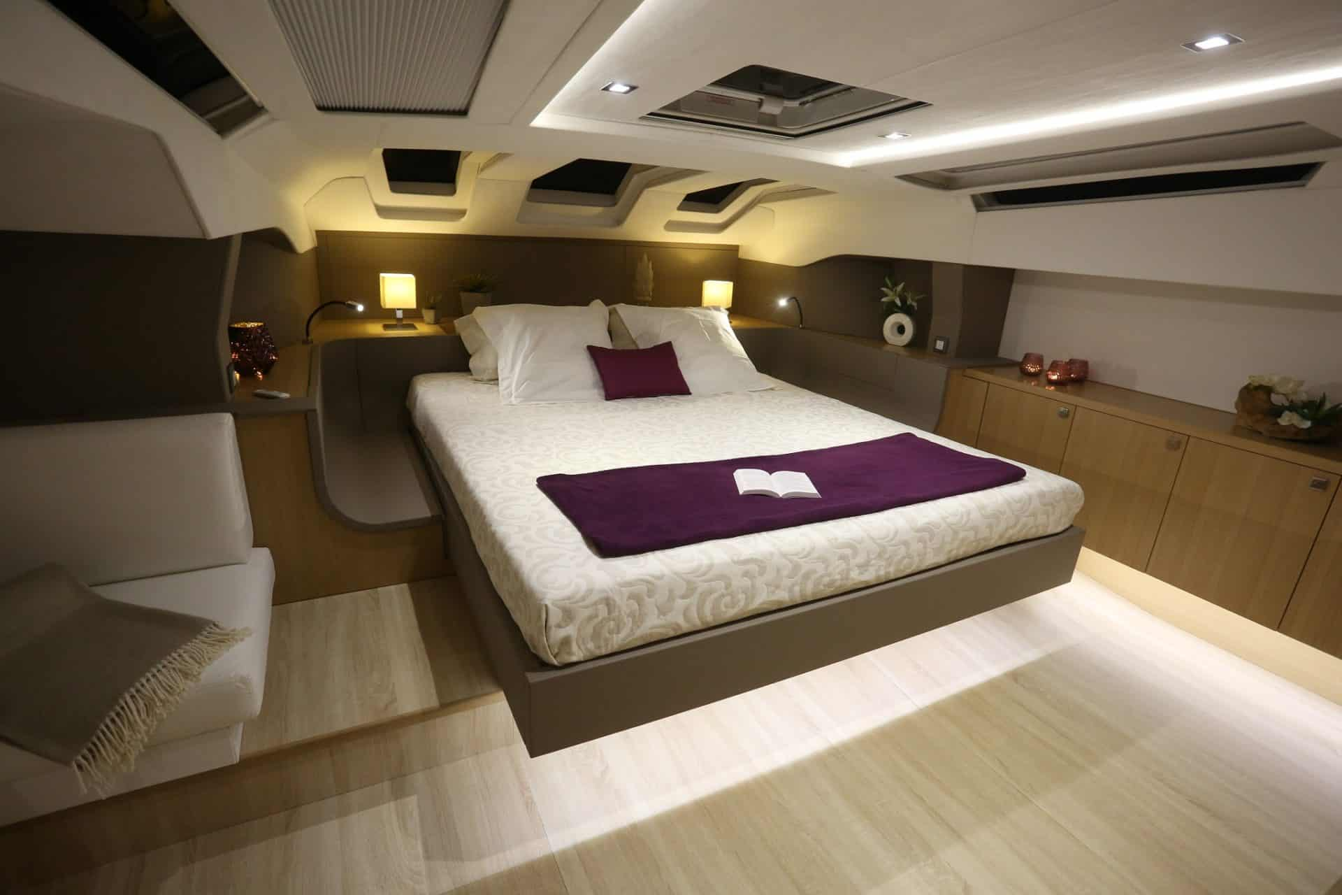 Privilege 7 Series - Owner's cabin by night