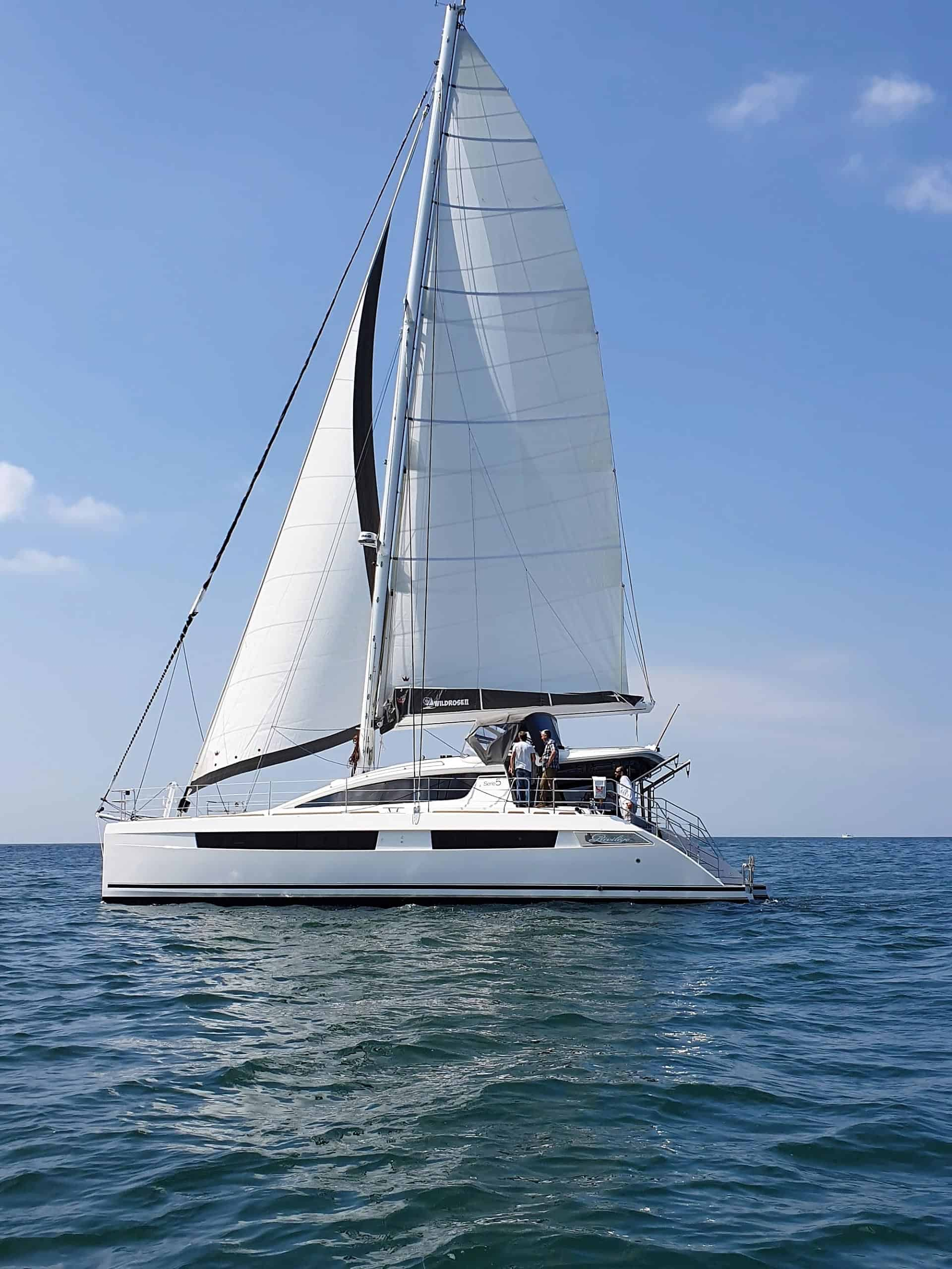 Rob's first sail on Wild Rose II