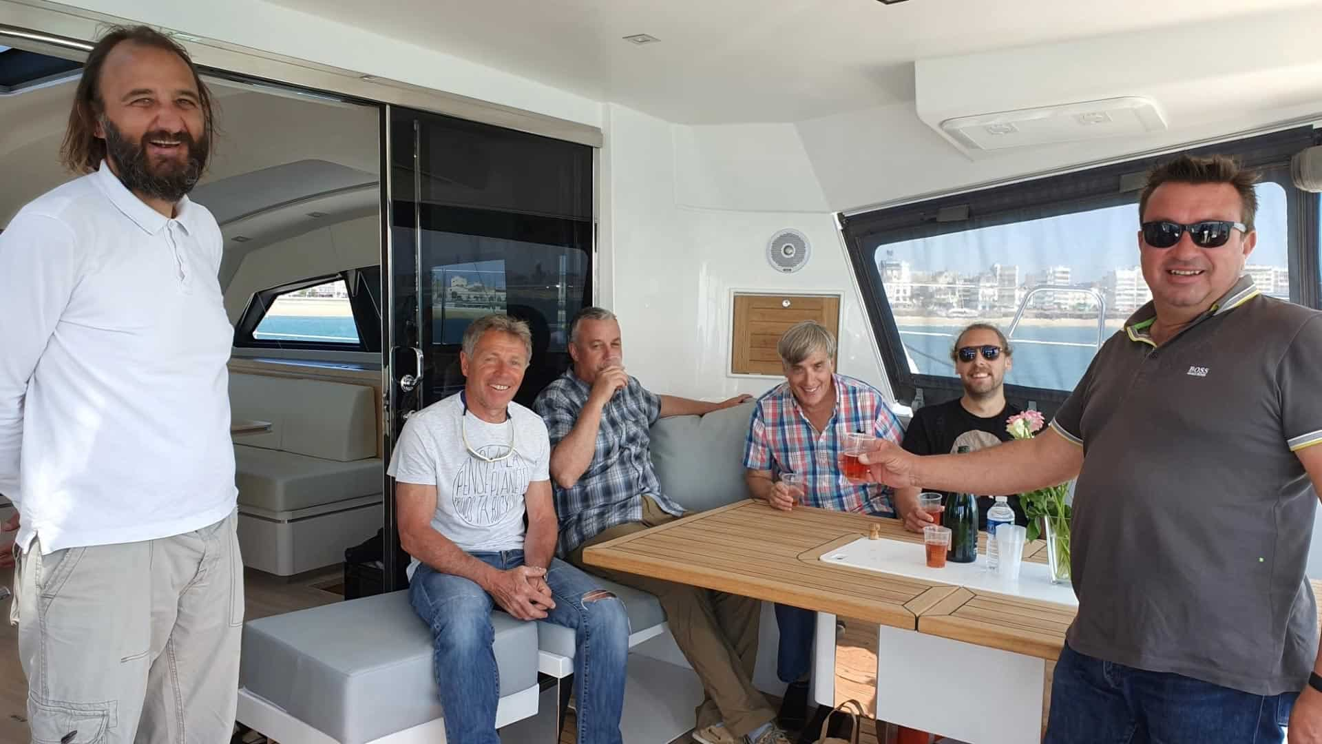 What's a new yacht without a champagne toast!