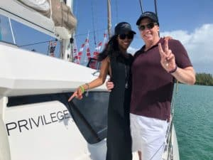 John & Noelia in Miami aboard their new Privilege 500