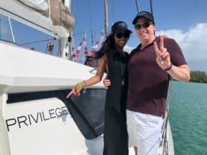 John & Noelia in Miami aboard their new Privilege 500