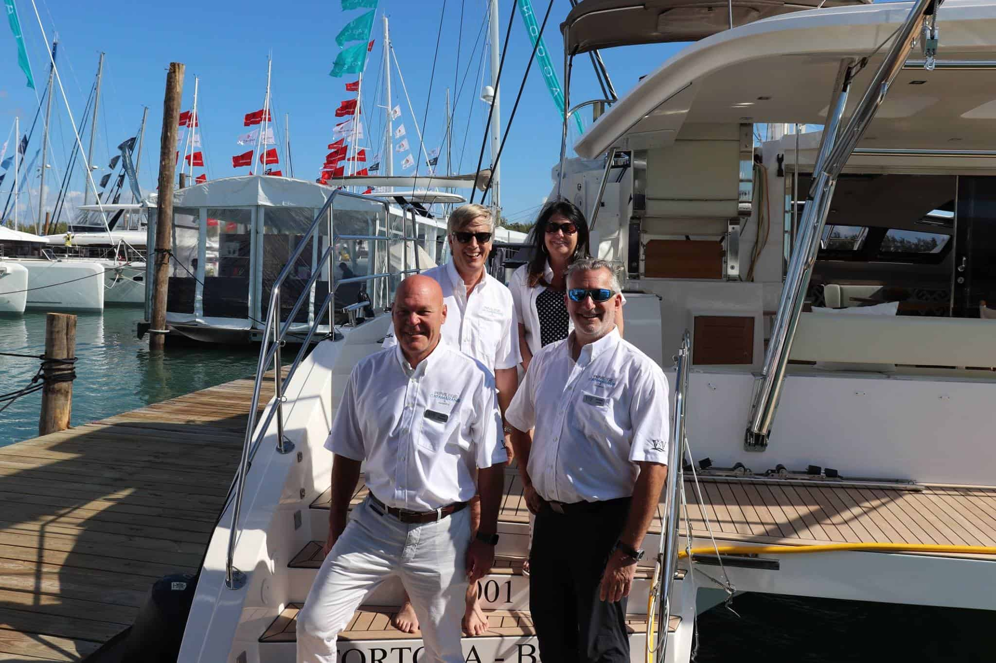 Crew from Privilege Catamarans America at the Miami Boat Show