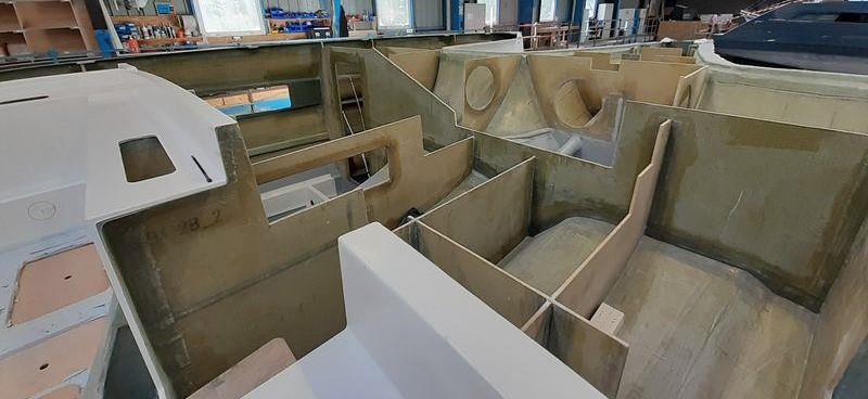 The bulkheads aboard the Privilege 580 catamaran