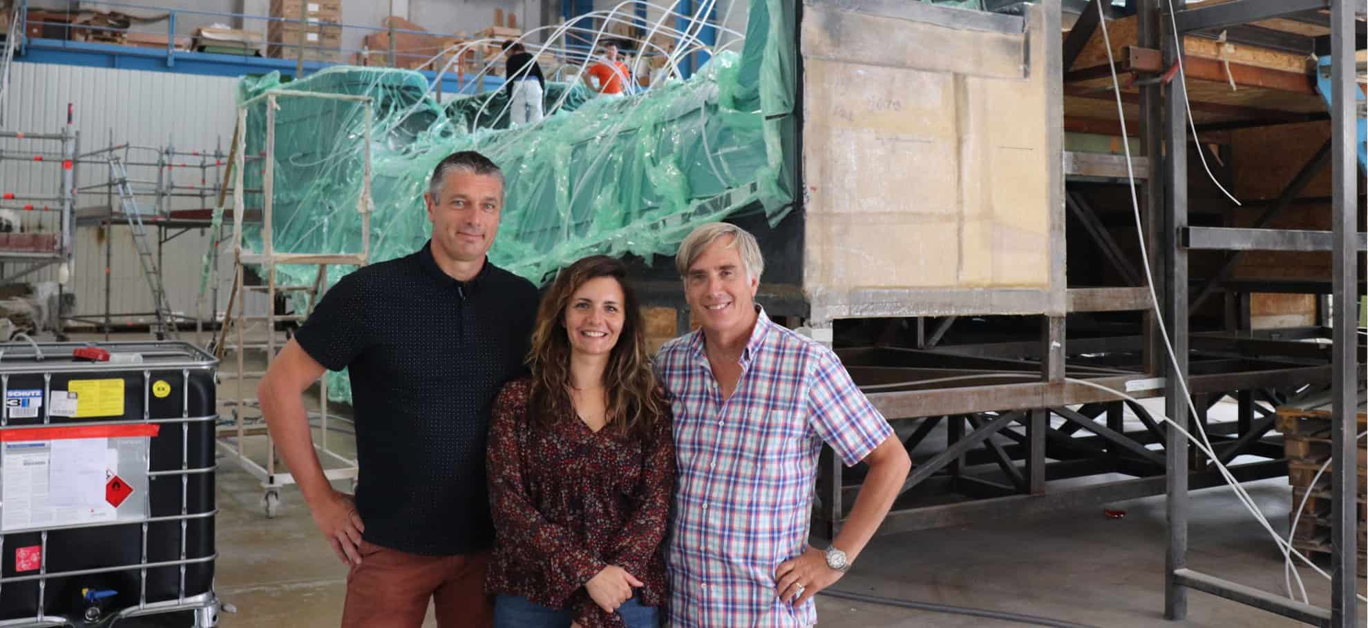 Rob with Production Manager Freddy and Caroline from Customer Services at the Privilege boatyard