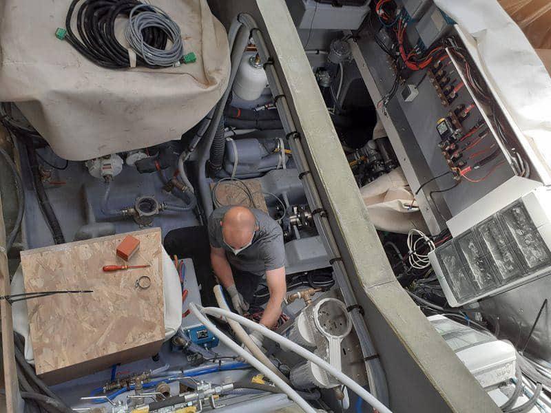 Systems installation aboard the Privilege 580 Catamaran
