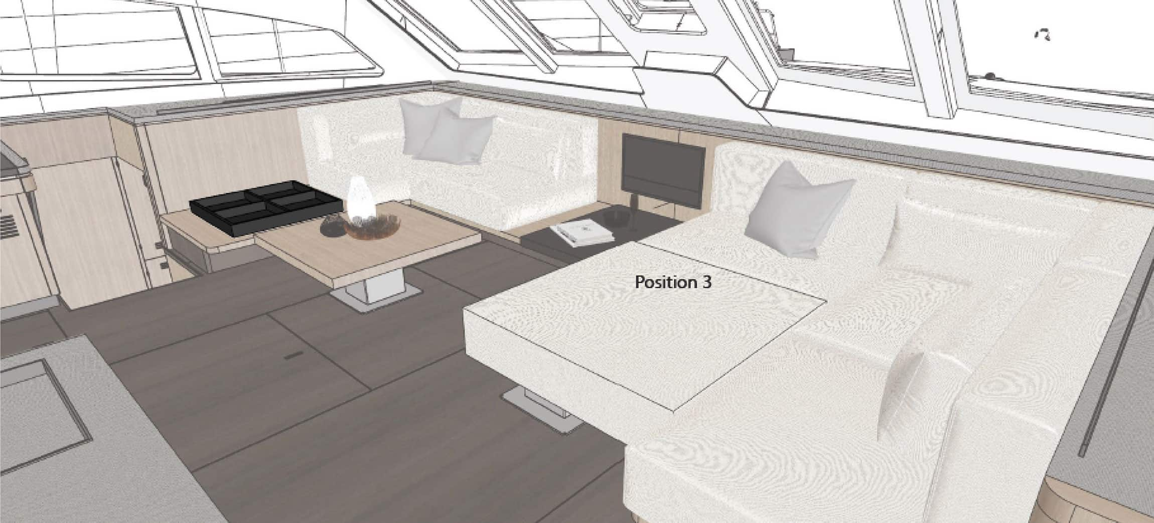 The cushion in position 3 to make a large lounge area.