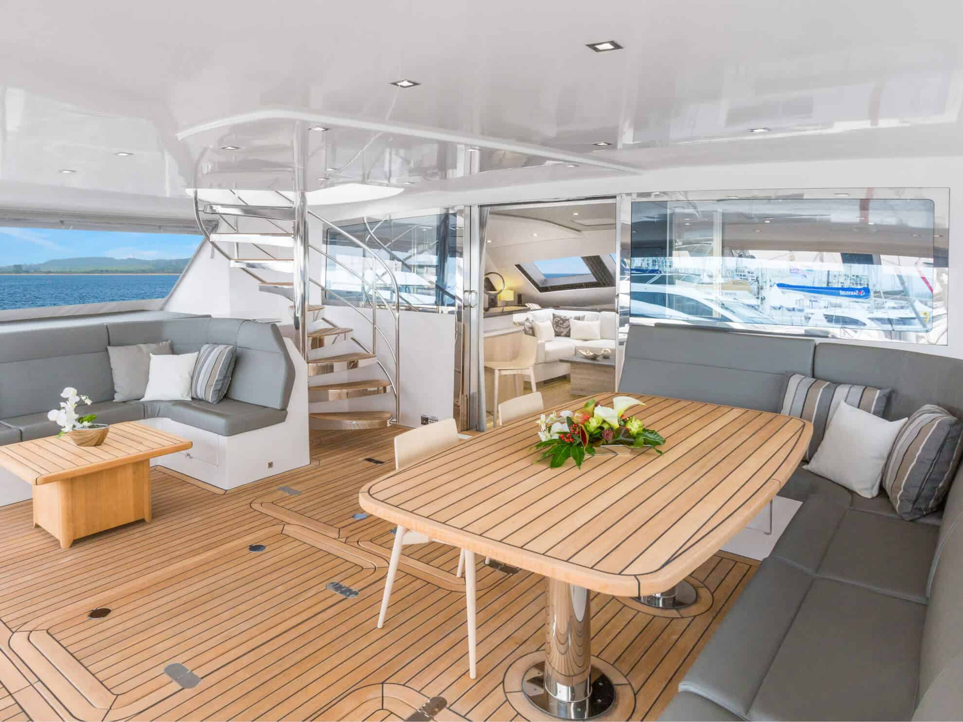 The cockpit seamlessly connects the indoor and outdoor living spaces