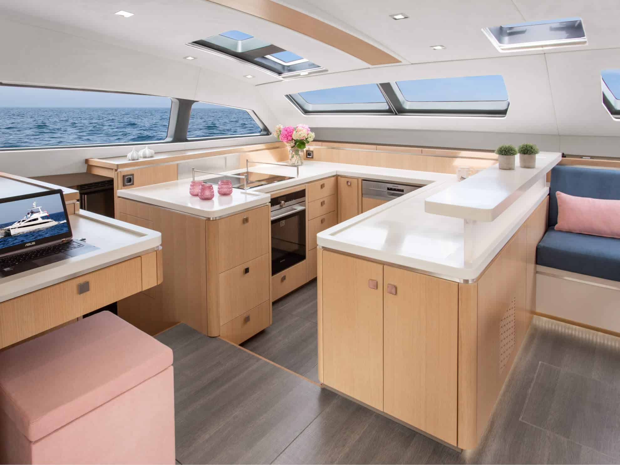 The spacious and well-equipped galley aboard