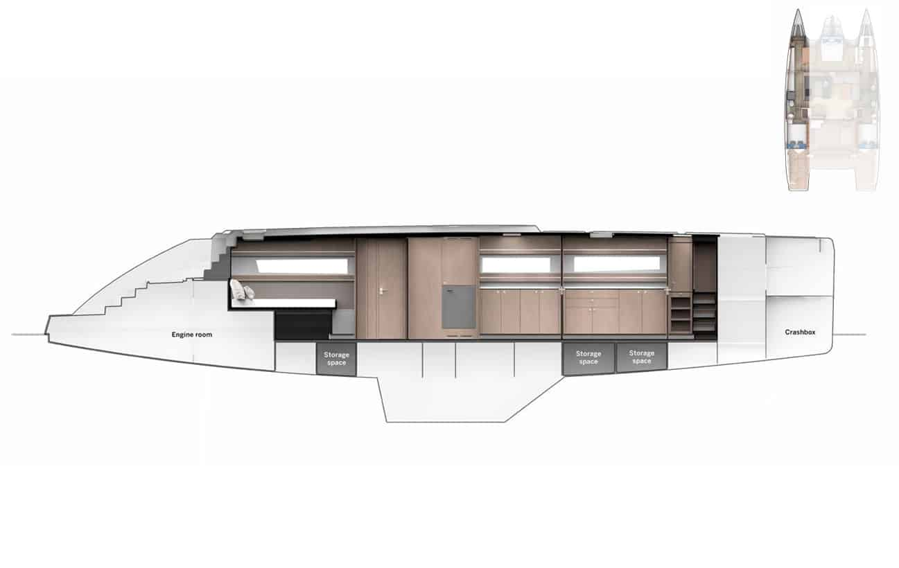 Privilege 510 Hull Plan Portside Outside View