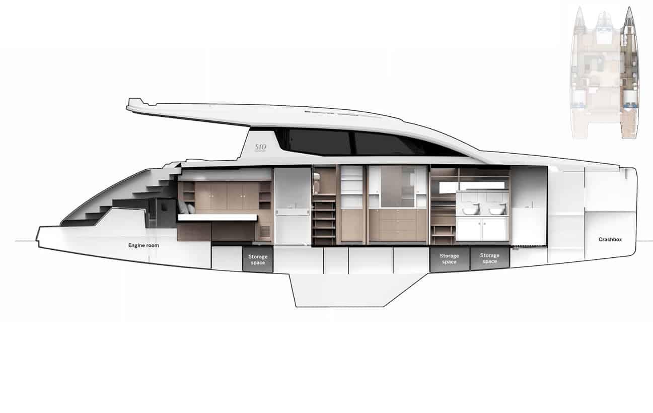 Privilege 510 Hull Plan Starboard Inside view