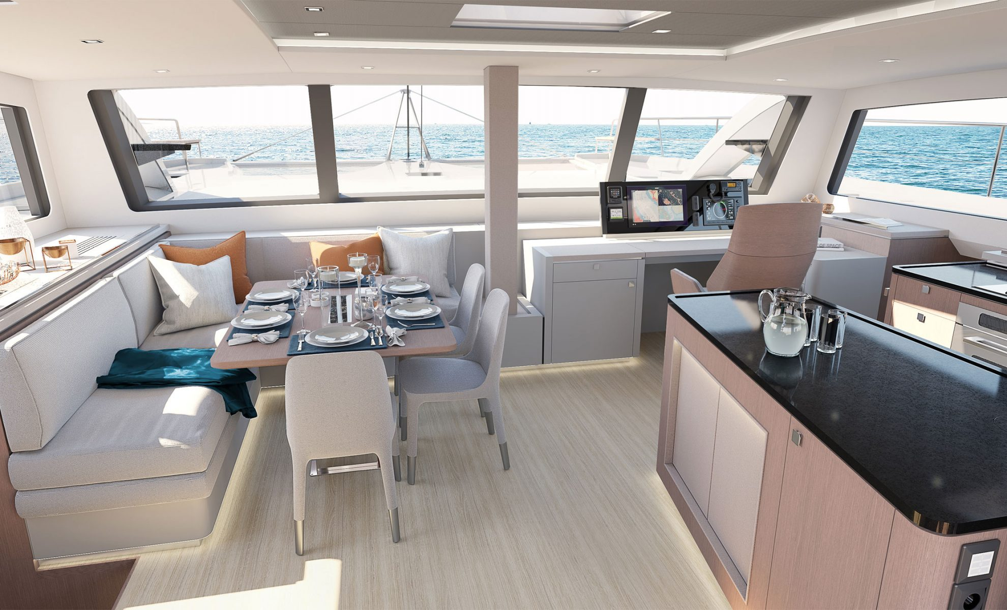 Privilege 580 Circumnavigator Salon with Galley